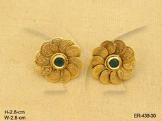 Manekratna Laxmi Coin Tops Temple Jewellery Earrings