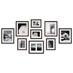 Create a professional-looking wall gallery with the Frame Gallery frame kit by Swing Design. Includes 9 black wood frames with acid-free beveled mats, a full-size hanging template, and hardware. Just add your favorite photos or artwork. Photo Wall Decor, Family Wall Decor, Gallery Wall Layout, Gallery Wall Frames, Frame Wall Collage, Frames On Wall, Wood Frames, Picture Frame Arrangements, Photo Arrangement