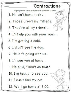 contractions activity via Petersons Pad: freebies 2nd Grade Grammar, First Grade Words, First Grade Phonics, 2nd Grade Ela, First Grade Writing, First Grade Activities, Teaching First Grade, First Grade Reading, Student Teaching