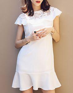 #AdoreWe #VIPme A-Line Dresses - LILITH A PARIS Modern White Plain Chiffon Short Sleeve Mini Dress - AdoreWe.com