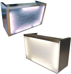 Illusion Reception Desk -manufacturer: Design X -very unique lighting on the front of the desk; gives it a water-like feel -made with plexiglass, and Alumasteel