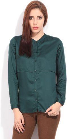 Arrow Women's Solid Formal Dark Green Shirt