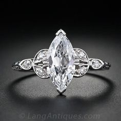 1.18 Carat Marquise Cut Vintage Diamond Engagement Ring - 10-1-4248 - Lang Antiques