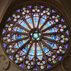 Rose Window of Basilique Ste-Clotilde - Paris, France - designed by architect F. C. Gau of Cologne in a neo-Gothic style. Work began in 1846