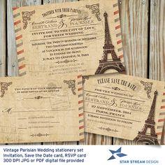 Vintage Parisian Wedding Stationery Set DIY by StarStreamDesign #parisianwedding