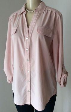 Chico 039 s Sz 2 Pink Rose Quartz Button Down Tunic Tab Sleeve Modal Stretch GUC | eBay