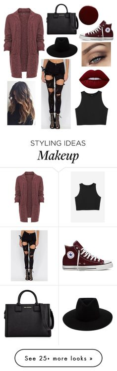 """Untitled #70"" by elibugyiova on Polyvore featuring WearAll, Monki, Converse, Lime Crime, Lauren B. Beauty, Karl Lagerfeld and rag & bone"