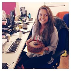 It's Rachel's last day so we say goodbye and happy birthday! We'll miss you and wish you luck!
