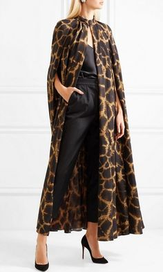 Leopard Print Animal Pattern Long Sleeve Cape Open Front Indie XODevilish Mind Leopard Print Animal Pattern Long Sleeve Cape Open Front Indie XO Show Stopping Brown Leopard Long Opera Cape Abaya Mode, Mode Hijab, Abaya Fashion, Fashion Dresses, Fashion Cape, Vintage Outfits, Vintage Clothing, Dolce And Gabbana Earrings, Designer Leather Jackets
