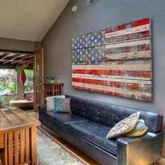 Rustic american flag artwork