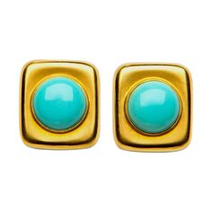 Angela Cummings for Tiffany Turquoise Earrings. 7/8th of an inch of timeless style. Soft cushion shaped settings frame bright turquoise centers. Circa 1980s