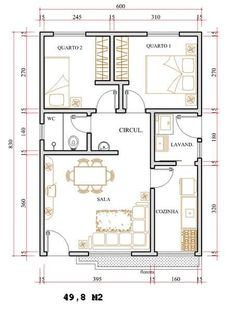 Make it a 1 bedroom cottage. Apartment Plans, Apartment Design, Small House Plans, House Floor Plans, 2 Bedroom House Plans, House Layouts, Architecture Plan, Bungalows, Design Case