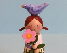 Redhead Girl with Bird and Flower