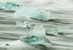Iceland icebergs stranded on the volcanic beach