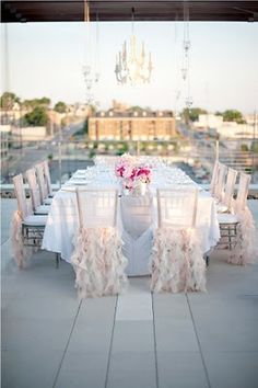 Dramatic chair covers and skirts