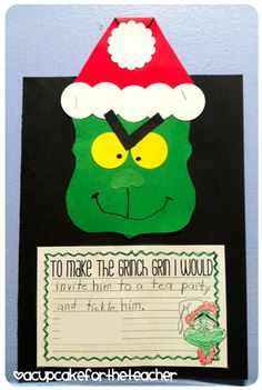 Ideas For Holiday Crafts Grinch Christmas Writing, Grinch Christmas, Preschool Christmas, Christmas Art, 2nd Grade Christmas Crafts, Christmas Stuff, Kindergarten Writing, Writing Activities, Kindergarten Centers
