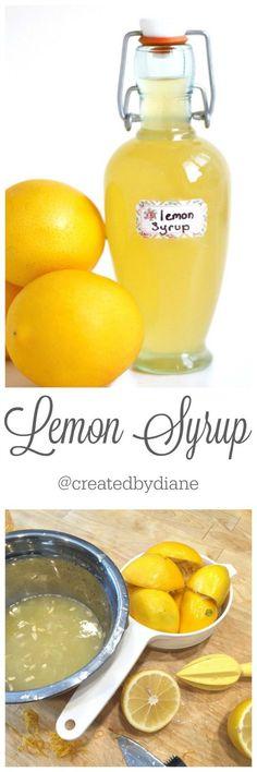 Lemon Syrup Recipe @createdbydiane Lemon Desserts, Lemon Recipes, Syrup Recipes, Lemon Syrup, Lemon Sauce, Lemon Curd, Salsa Dulce, Homemade Syrup, Dessert Sauces