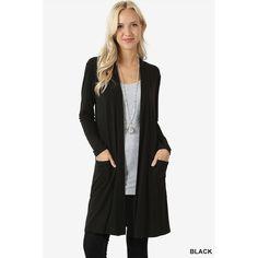 fb5e36806db JED Women s Long Sleeve Cardigan with Side Pockets (Black - Medium)