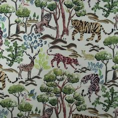 Hamilton Fabrics Congo Multi if your looking for a WOW! fabric this is the one, with tigers, monkeys in the jungle trees. Jungle Tree, 17th Century Art, Embroidery Fabric, Luxor Egypt, Furniture Upholstery, Fabulous Fabrics, British Museum, Congo, Monkeys