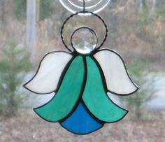 Stained Glass Suncatcher Angel, Teal and Blue, Wire Halo.