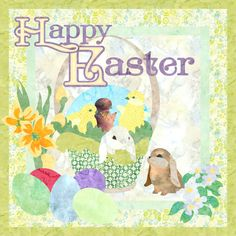 Happy Easter applique art quilt pattern at Quilt Fusion