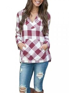 Casual Women Long Sleeve Plaid Pocket Hooded Blouse