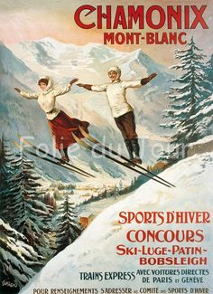Chamonix Vintage French Ski Skiing Advertising Poster Winter Sport Snow - French ads advertisement poster. $12.00, via Etsy.