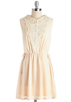 Prose and Concerts Dress - Solid, Lace, Casual, Boho, A-line, Sleeveless, Woven, Good, Mid-length, Cream