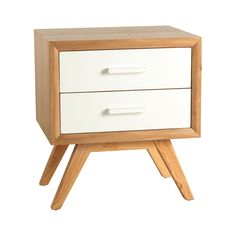 Porthos Home Braxton Mid-Century Side Table (Natural), Brown, Size 2-drawer