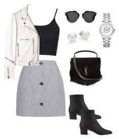 """""""Checkers"""" by danielachvz ❤ liked on Polyvore featuring Carven, Topshop, R13, Christian Dior, Gianvito Rossi, Mikimoto and Yves Saint Laurent"""
