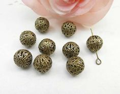 50pcs Ball Connector Beads 10mm Antique by FullLoveAccessories