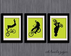 "DIY 8"" x 10"" PRINTABLE ""Bikers"" Set of 3 bmx bikers silhouette Wall art - hmmm...art for T's room?"