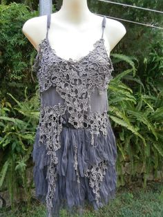 "vintage inspired shabby chic dress with vintage lace..medium to 38"" bust.... by wildskin on Etsy"