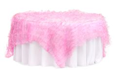 """Ruffled Sheer Organza Table Overlay Topper 85""""x85"""" Square - Pink ● $54.99 ● Available from www.cvlinens.com"""