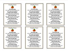 Pumpkin Prayer Template -- perfect for the inside of a Halloween Card and a GREAT alternative.