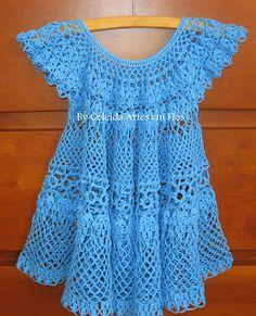 "Beautiful crochet (with thread) baby dress! ""Celeida Arts in Wires"" Crochet Girls Dress Pattern, Crochet Shirt, Knit Crochet, Crochet Spring Dresses, Little Girl Summer Dresses, Vestidos Bebe Crochet, Pinafore Pattern, Bikinis Crochet, Crochet Baby Clothes"