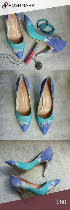 "Blue and aqua pointy toe heels ☆☆HP☆☆ Host pick 8/8. Blue and aqua tie dyed pattern.  Pointy toe. Heel height 4"".  Classic style with a crazy awesome twist.  :)  Charles by Charles David.   Please ask any necessary questions prior to purchasing. No trades.  Save even more with a bundle discount! Charles David Shoes Heels"