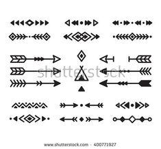 Native American Indian Design Elements Set. Borders, Arrows ...