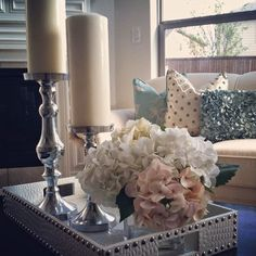 Nissa-Lynn Interiors: My coffee table decor in the morning sunlight. - Model Home Interior Design Home Living Room, Living Room Decor, Coffee Table Decor Living Room, Apartment Living, Home Decoracion, Decorating Coffee Tables, Coffee Table Tray Decor, Coffee Table Decorations, Room Decorations