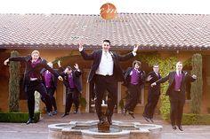 Fun picture of the groomsmen in their purple vests | villasiena.cc