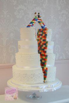 Lego split cake!! by Emmazing Bakes - http://cakesdecor.com/cakes/261477-lego-split-cake