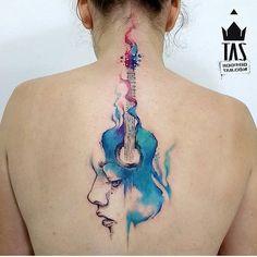Superb guitar tattoo by Rodrigo Tas #RodrigoTas #watercolor #graphic #guitar