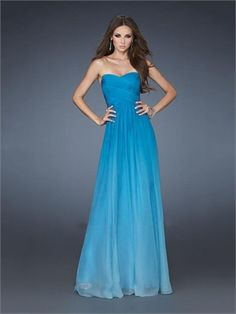 Gorgeous A-line Strapless Twisted Bodice With Nice Train Chiffon Prom Dress PD11360 www.dresseshouse.co.uk $109.0000