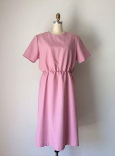 Blush Pink dress  // Vintage 80s petal pink dress // Plus size 16 Girly pink dress on Etsy, $35.00