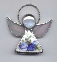 Broken China Jewelry Angel Ornament Moonlight Roses