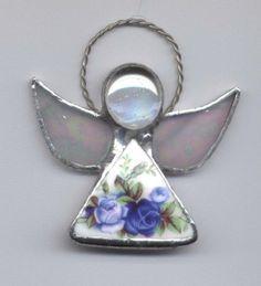Broken China Jewelry Angel Ornament Moonlight Roses