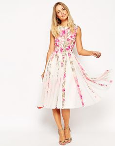 Image 4 ofASOS Floral Mesh Insert Fit And Flare Midi Dress