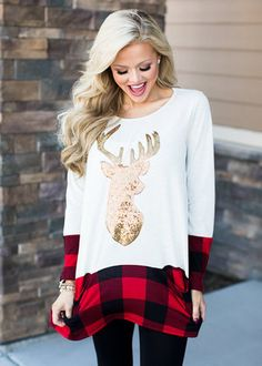 modern vintageReindeer and Plaid Pocket Tunic