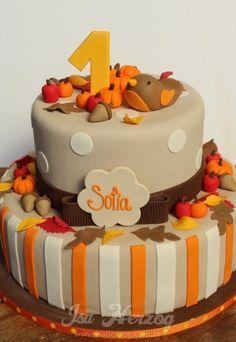 Love the colors! autumn birthday cake