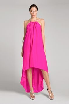 April Dress from Julian Chang. Gorgeous silk high-low dress featuring roped halter strap.  $315